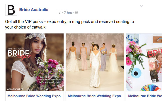 Melbourne Bride Expo Facebook Ad