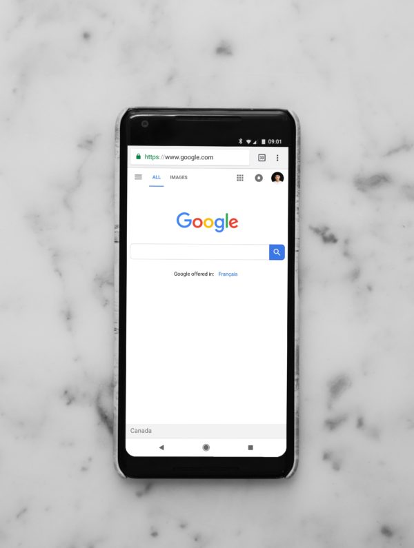 Phone Displaying Google Search